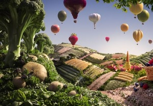Fruit Balloons and Cart by Carl Warner