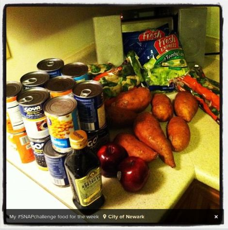 Cory Booker's groceries for one week. from Booker's Instagram.
