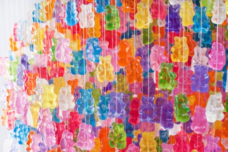 Detail of a gummy bear Chandelier by Kevin Champeny. More at Colossal.