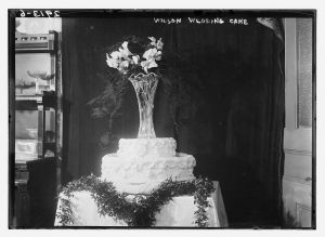 "The cake from President Wilson's daughter's wedding in 1913: ""the usual kind of bride cake, and not that elaborate."""