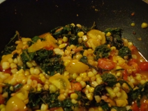 Corn, tomatoes, greens