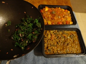 Greens, ratatouille, and curry