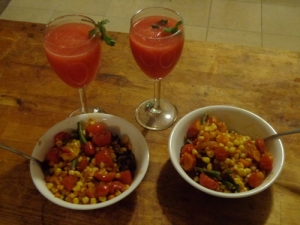 Rice bowl with watermelon margaritas