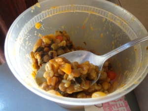 Curry with Lentils and. . . alphabet pasta.