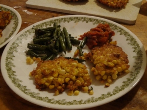 Corn fritters with tomato chutney and green beans