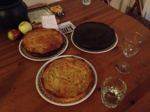 Apple cakes (2) and beet cakes (1)