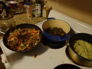 Stir fry, collards, and mashed potatoes
