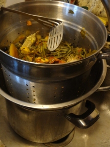 Stock pot full of veggie scraps