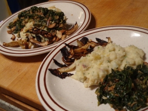 Roasted fennel, mashed roots, and greens