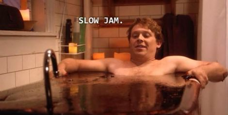 Eli of Don't Trust the B in  Apartment 23 bathing in homemade jam