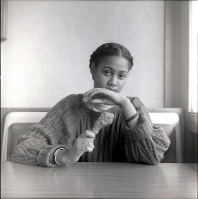 """Black Woman With Chicken"" from Carrie Mae Weems' ""Ain't Jokin"" series"