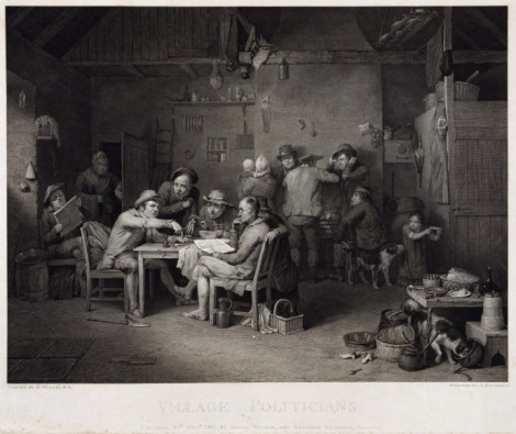 """Village Politicians"" by David Wilkie. Engraved byAbraham Raimbach, 1813"